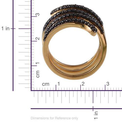 Boi Ploi Black Spinel (Rnd) Spiral Ring in 14K Gold Overlay Sterling Silver 1.500 Ct.