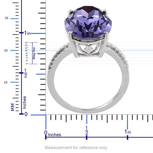 Crystal from Swarovski - Tanzanite Colour Crystal (Ovl) Ring in Platinum Overlay Sterling Silver 10.000 Ct.