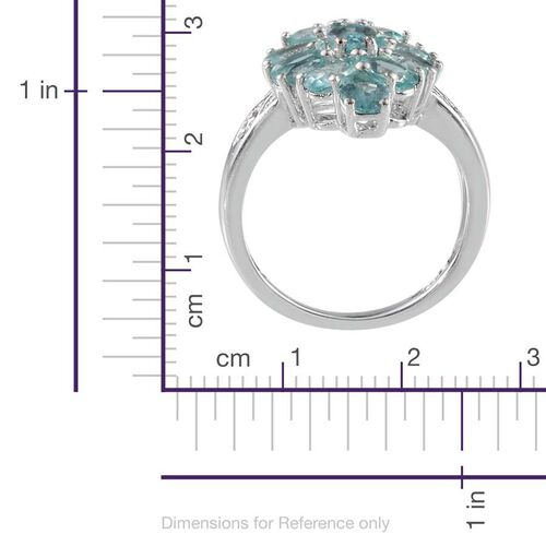 Paraibe Apatite (Ovl 0.50 Ct), Diamond Ring in Platinum Overlay Sterling Silver 4.020 Ct.