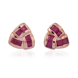 Burmese Ruby (Sqr) Knot Stud Earrings (with Push Back) in 14K Rose Gold Overlay Sterling Silver 1.500 Ct.