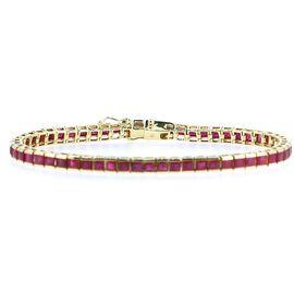 9K Y Gold Burmese Ruby (Sqr) Tennis Bracelet (Size 7.5) 12.000 Ct.
