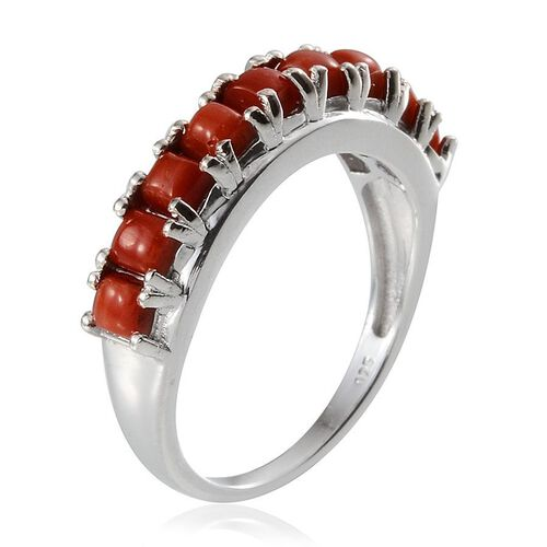 Natural Mediterranean Coral (Sqr) Half Eternity Ring in Platinum Overlay Sterling Silver 1.250 Ct.