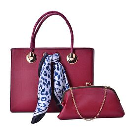 Red Colour Large Tote Bag with External Zipper Pocket, Small Clutch and Blue Colour Leopard Pattern White Colour Scarf (Size 35x28x12 Cm, 27x13.5 Cm and 51x47 Cm)