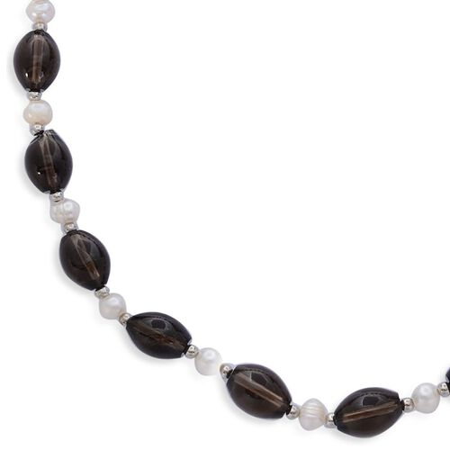 Brazilian Smoky Quartz and Fresh Water White Pearl Necklace (Size 18) in Silver Tone 166.000 Ct.