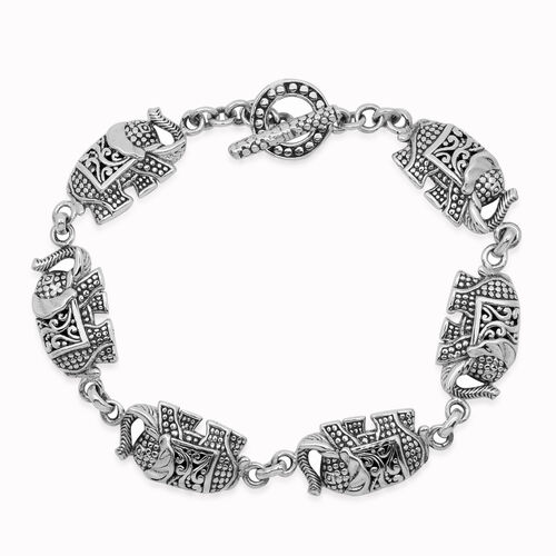 Royal Bali Collection Sterling Silver Elephant Bracelet (Size 7.5), Silver wt 16.70 Gms.