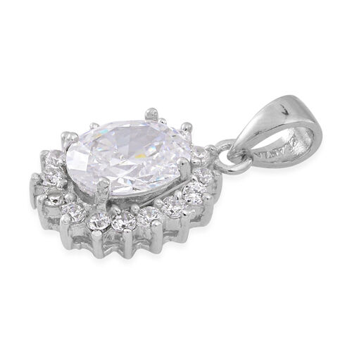 ELANZA AAA Simulated White Diamond (Ovl) Pendant and Stud Earrings (with Push Back) in Rhodium Plated Sterling Silver