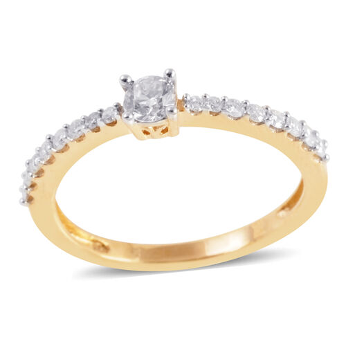 14K Y Gold IGI Certified Diamond (Rnd 0.25 Ct) (I2/ G-H) Ring 0.500 Ct.