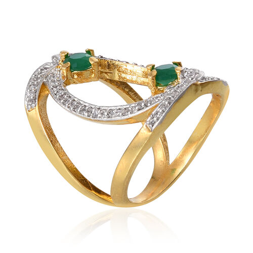 Simulated Emerald and Simulated White Diamond Brass Ring