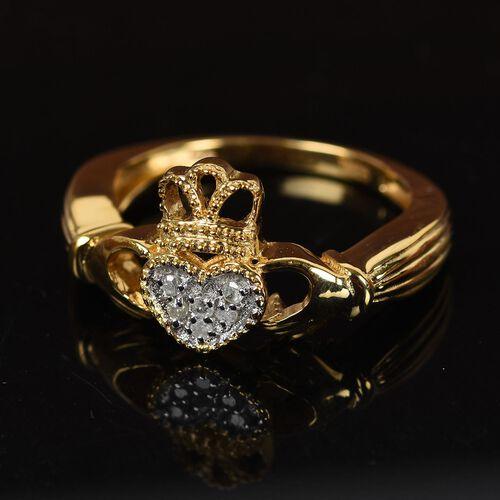 Diamond Claddagh Ring in 14K Gold Overlay Sterling Silver.