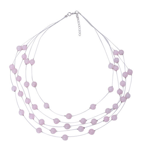 Rose Quartz Necklace (Size 18) in Silver Tone 20.000 Ct.