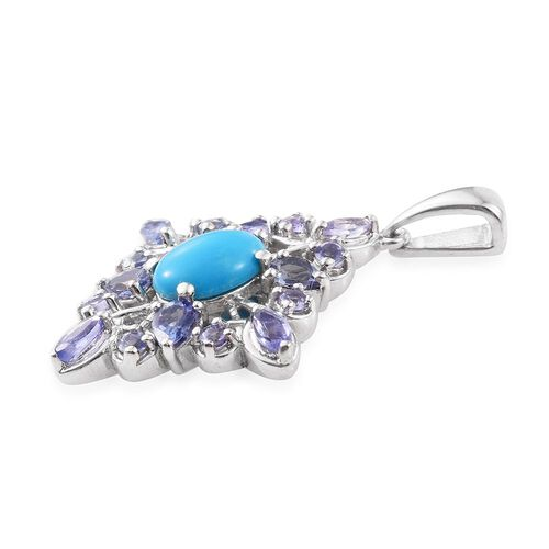 Arizona Sleeping Beauty Turquoise (Ovl 0.95 Ct), Tanzanite Pendant in Platinum Overlay Sterling Silver 2.250 Ct.