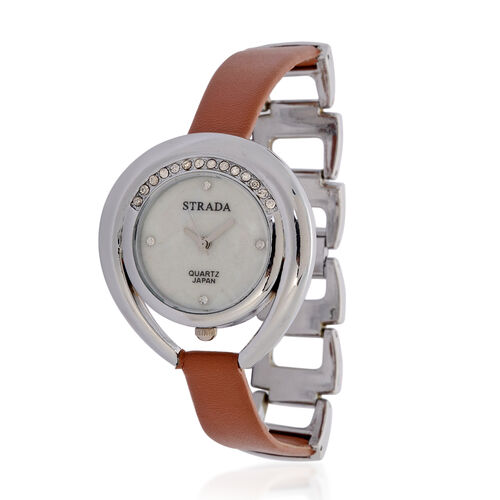 STRADA Japanese Movement MOP Dial White Austrian Crystal Watch in Silver Tone with Brown Strap