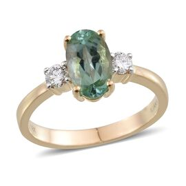 ILIANA 18K Y Gold Mozambique Paraiba Tourmaline (Ovl 1.70 Ct), Diamond Ring 2.000 Ct.