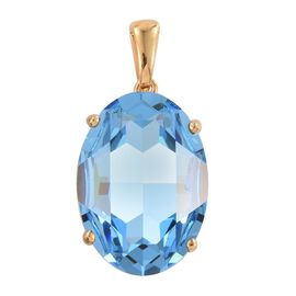 J Francis Crystal from Swarovski - Aquamarine Colour Crystal Pendant in 14K Gold Overlay Sterling Silver