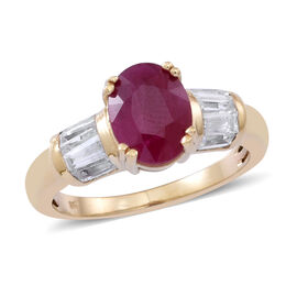 9K Y Gold AAA Burmese Ruby (Ovl 2.40 Ct), Natural Cambodian White Zircon Ring 3.000 Ct.