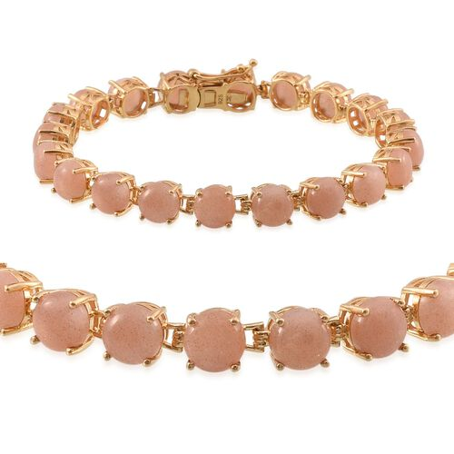 Morogoro Peach Sunstone (Rnd) Bracelet (Size 7.25) in 14K Gold Overlay Sterling Silver 24.000 Ct.