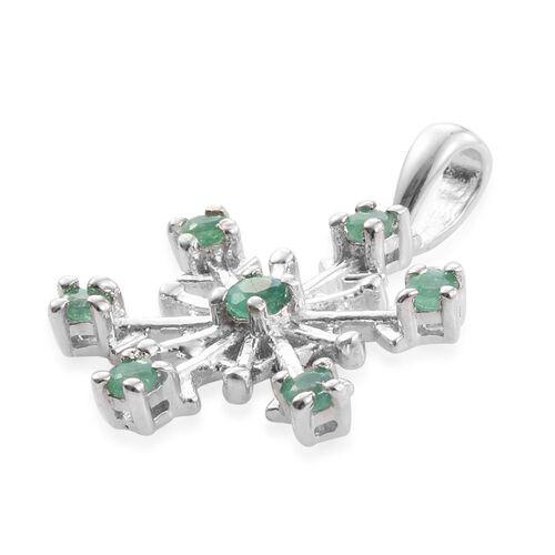 Zambian Emerald 0.50 Carat Silver Snowflake Pendant in Platinum Overlay