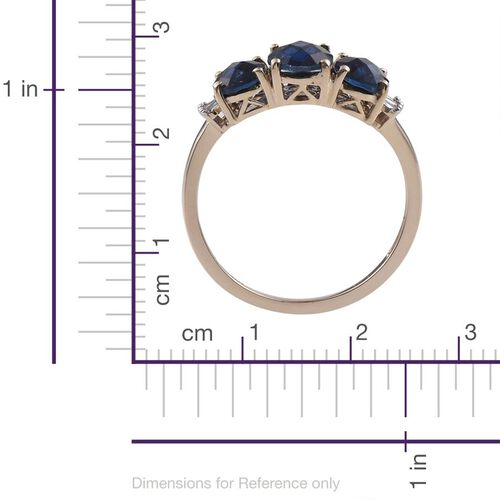 Checkerboard Cut 9K Y Gold AAA Ceylon Colour Quartz (Ovl 1.45 Ct), Diamond Ring 3.500 Ct.