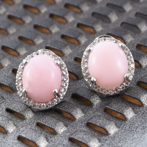 Natural Peruvian Pink Opal (Ovl), White Topaz Stud Earrings (with Push Back) in Platinum Overlay Sterling Silver 6.500 Ct.