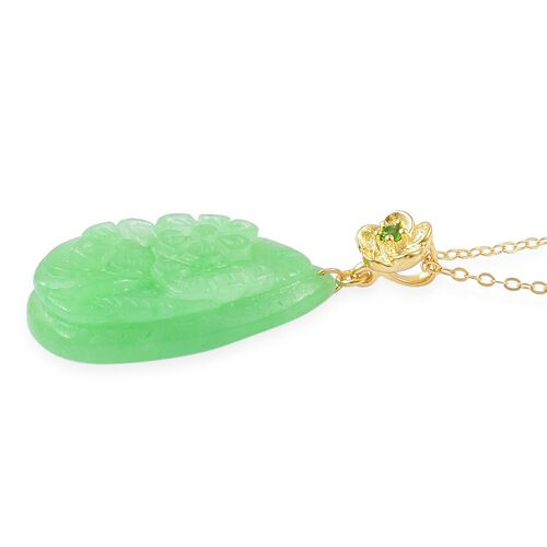 Green Jade and Russian Diopside Pendant With Chain in Yellow Gold Overlay Sterling Silver 22.540 Ct.