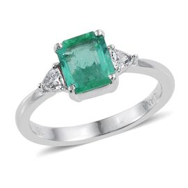 ILIANA 18K W Gold Boyaca Colombian Emerald (Oct 1.05 Ct), Diamond Ring 1.250 Ct.