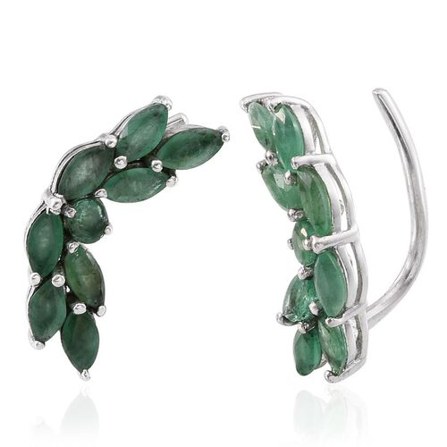 Kagem Zambian Emerald (Mrq) Climber Earrings in Platinum Overlay Sterling Silver 2.250 Ct.