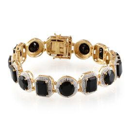 Boi Ploi Black Spinel and Diamond Bracelet in 14K Gold Overlay Sterling Silver (Size 7.75) 40.050 Ct.