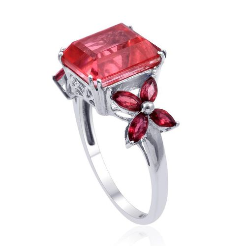 Padparadscha Quartz (Oct 6.00 Ct), Orange Sapphire Ring in Platinum Overlay Sterling Silver 7.250 Ct.