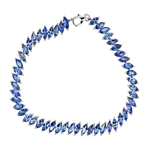 Tanzanite (Mrq) Bracelet in Rhodium Plated Sterling Silver (Size 7.5) 11.960 Ct.