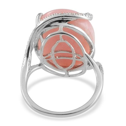 Peruvian Pink Opal (Ovl 17.75 Ct), Diamond Ring in Platinum Overlay Sterling Silver 17.760 Ct.