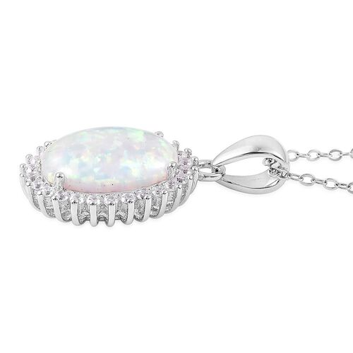 Simulated AAAA Ethiopian Welo Opal and Simulated White Diamond Pendant With Chain in Rhodium Plated Sterling Silver 2.650 Ct. Sterling Silver Weight 6.5 Grams
