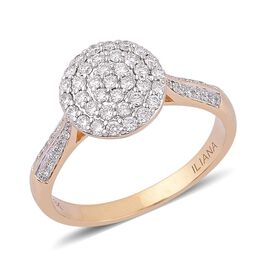 ILIANA 18K Yellow Gold 0.50 Carat Diamond Cluster Engagement Ring IGI Certified SI G-H.