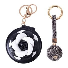 Set of 2 - AAA Black Austrian Crystal and Simulated Diamond Black and White 3D Floral and Ball Shape Bag Charm in Yellow Gold Tone