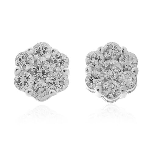 ILIANA 18K W Gold IGI Certified Diamond (Rnd) (SI/G-H) Floral Stud Earrings (with Screw Back) 0.250 Ct.