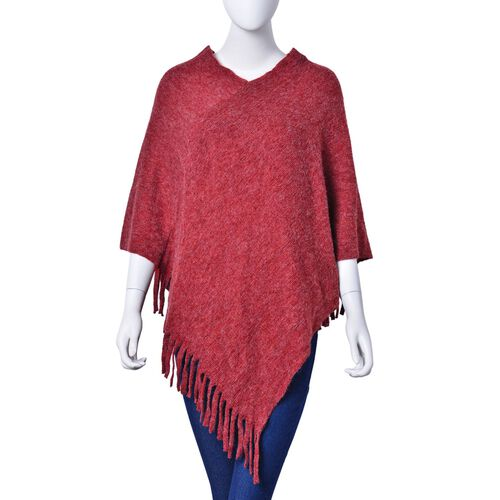 Red Colour Knitted Poncho with Fringes (Size 80X75 Cm)