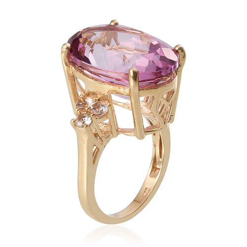 Mystic Pink Coated Topaz (Ovl 30.00 Ct), White Topaz Ring in 14K Gold Overlay Sterling Silver 30.750 Ct.