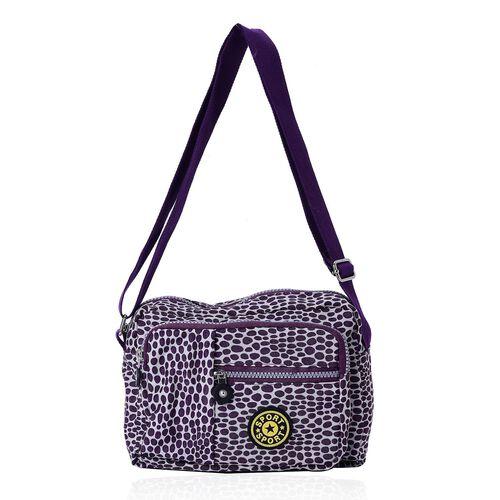 Dark Purple Colour Dots Pattern Waterproof Sports Bag with External Zipper Pocket and Adjustable Shoulder Strap (Size 22.5X17.5X6 Cm)