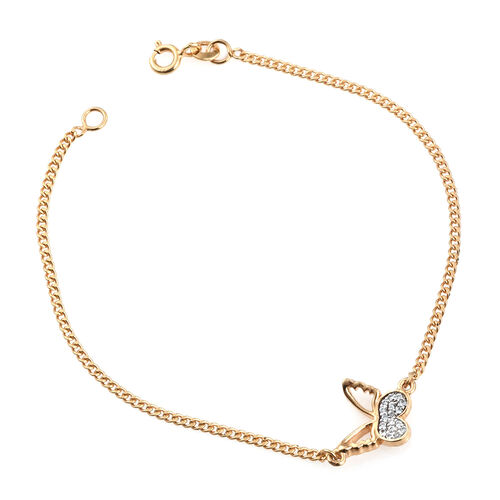 Kimberley Butterfly Collection - Natural Cambodian Zircon (Rnd) Butterfly Bracelet (Size 7.5) in 14K Gold Overlay Sterling Silver