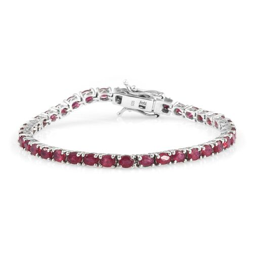 African Ruby 8.50 Ct Silver Tennis Bracelet in Platinum Overlay (Size 6.5)