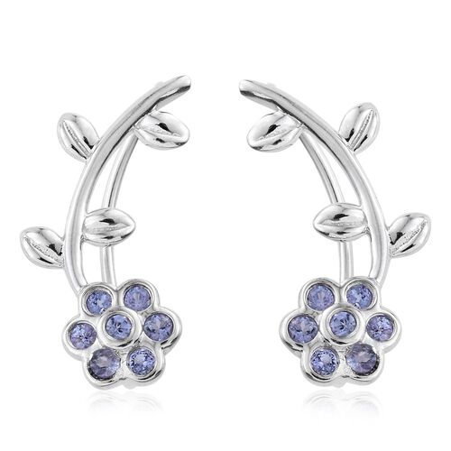 Tanzanite 0.28 Ct Silver Floral and Leaf Climber Earrings in Platinum Overlay