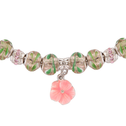 Green Glass Beads Necklace (Size 18) in Silver Tone