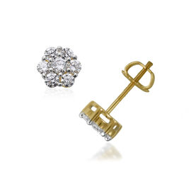 ILIANA 18K Y Gold IGI Certified Diamond (Rnd) (SI/ G-H) Floral Stud Earrings (with Screw Back) 1.000 Ct.