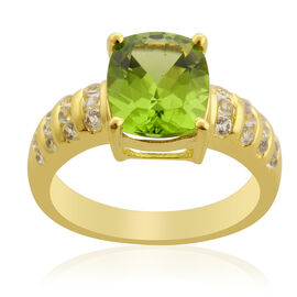 Hebei Peridot (Cush 2.75 Ct) White Topaz Ring in 14K Gold Overlay Sterling Silver  3.065 Ct.