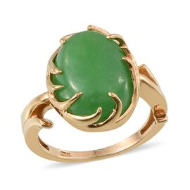 Green Jade (Ovl) Ring in 14K Gold Overlay Sterling Silver 10.750 Ct.