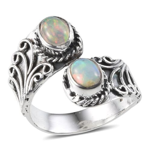 Jewels of India Ethiopian Welo Opal (Ovl) Ring in Sterling Silver 1.040 Ct.