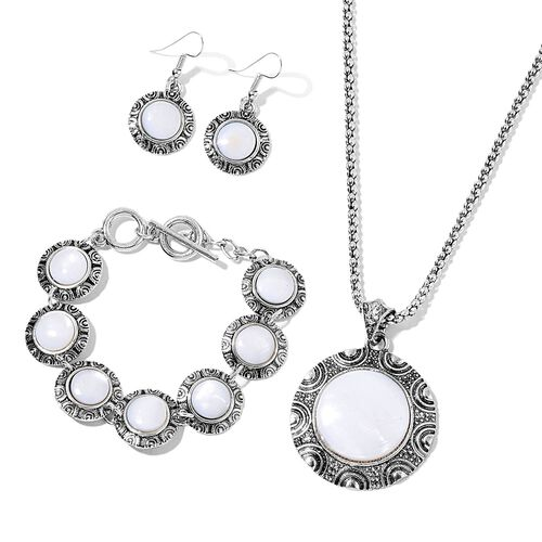 Set of 3- Organic White Shell and AAA Austrian Craystal Half Moon Pendant With Chain (Size 20 with 2 inch Extender), Bracelet (Size 7.50) and Hook Earrings in  120.000 Ct.