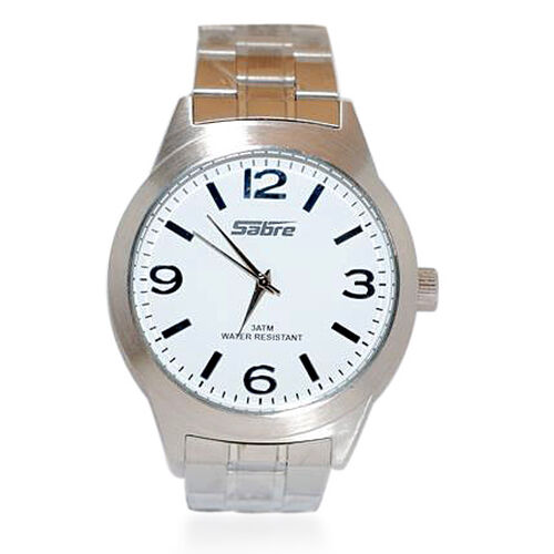 SABRE Japanese Movement White Dial 3 ATM Water Resistant Watch with Stainless Steel Strap