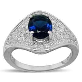 ELANZA AAA Simulated Blue Sapphire (Ovl), Simulated Diamond Ring in Rhodium Plated Sterling Silver