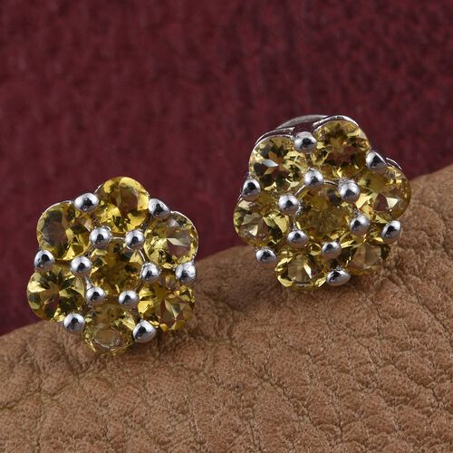 Marialite (Rnd) Floral Stud Earrings (with Push Back) in Platinum Overlay Sterling Silver 1.250 Ct.