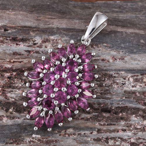 Rare Mozambique Grape Colour Garnet (Rnd) Cluster Pendant in Platinum Overlay Sterling Silver 3.500 Ct.